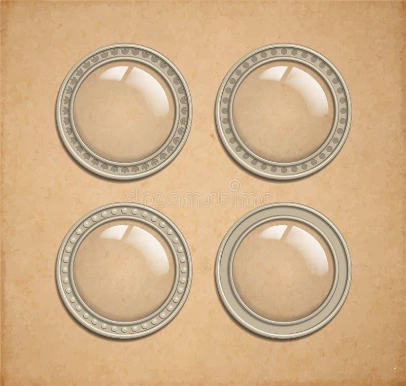Glass genomskinliga knappar för vektor royaltyfri illustrationer