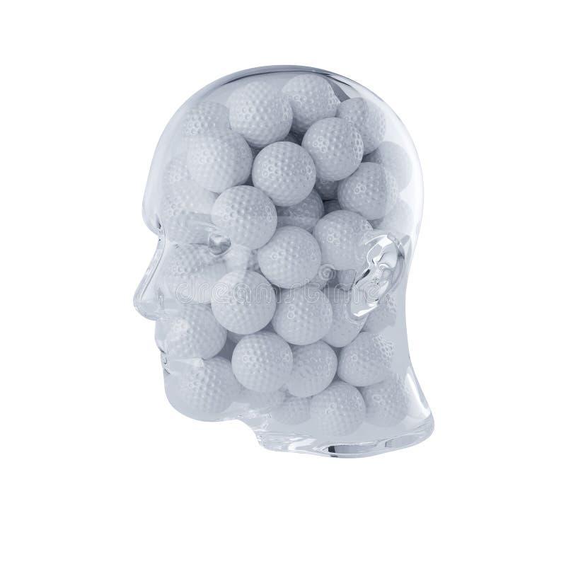 Glass genomskinligt mänskligt huvud som fylls med golfbollar stock illustrationer