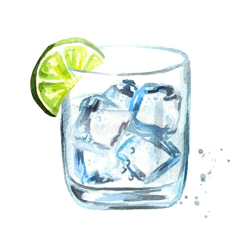 Glass of Gin tonic with ice cubes and lime slice. Watercolor hand drawn illustration, isolated on white background. Glass of Gin tonic with ice cubes and lime royalty free illustration