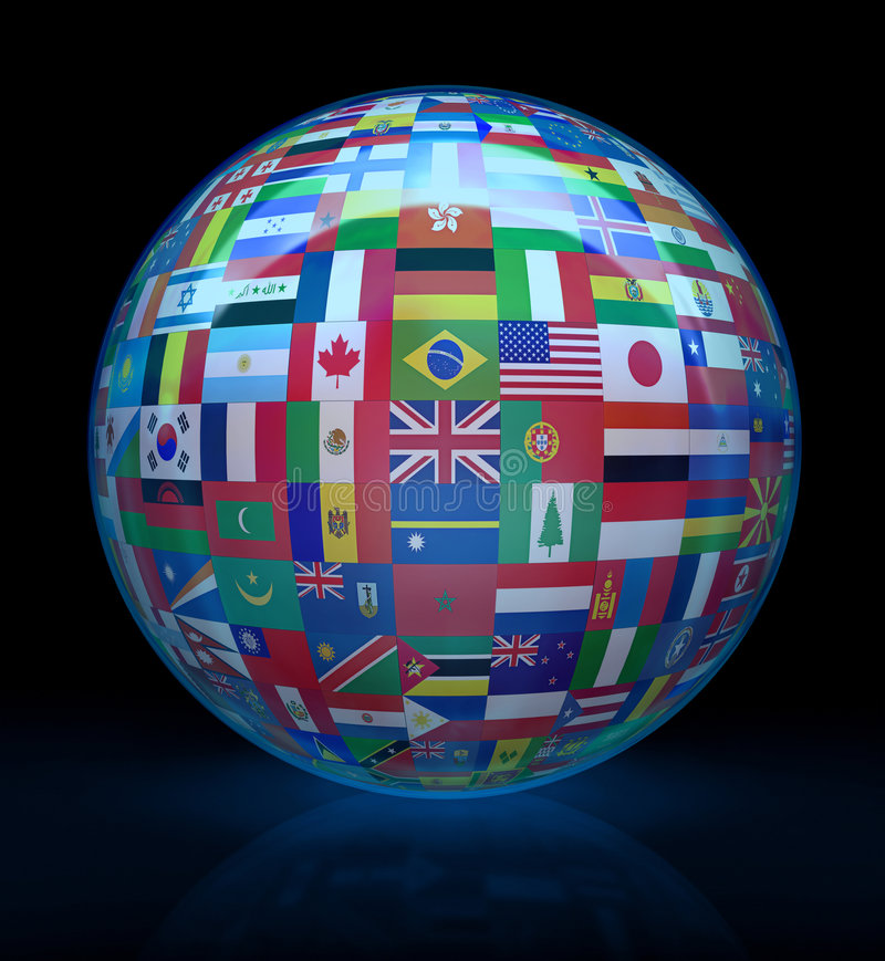 Glass globe with flags around. Globalize the world. More than 200 flags of all the world, united around of the globe. Concept of peace and union among the people royalty free illustration