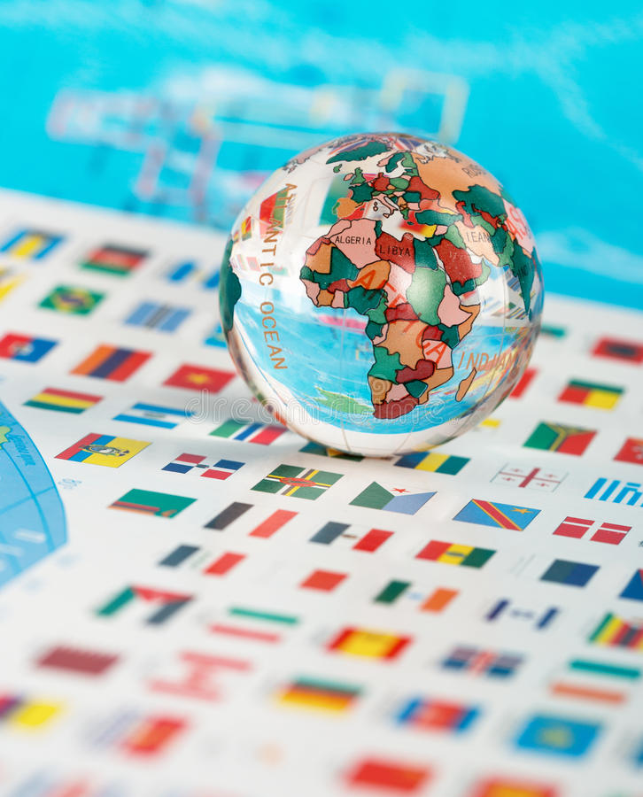Download Glass globe on the flags stock photo. Image of closeup - 34532934