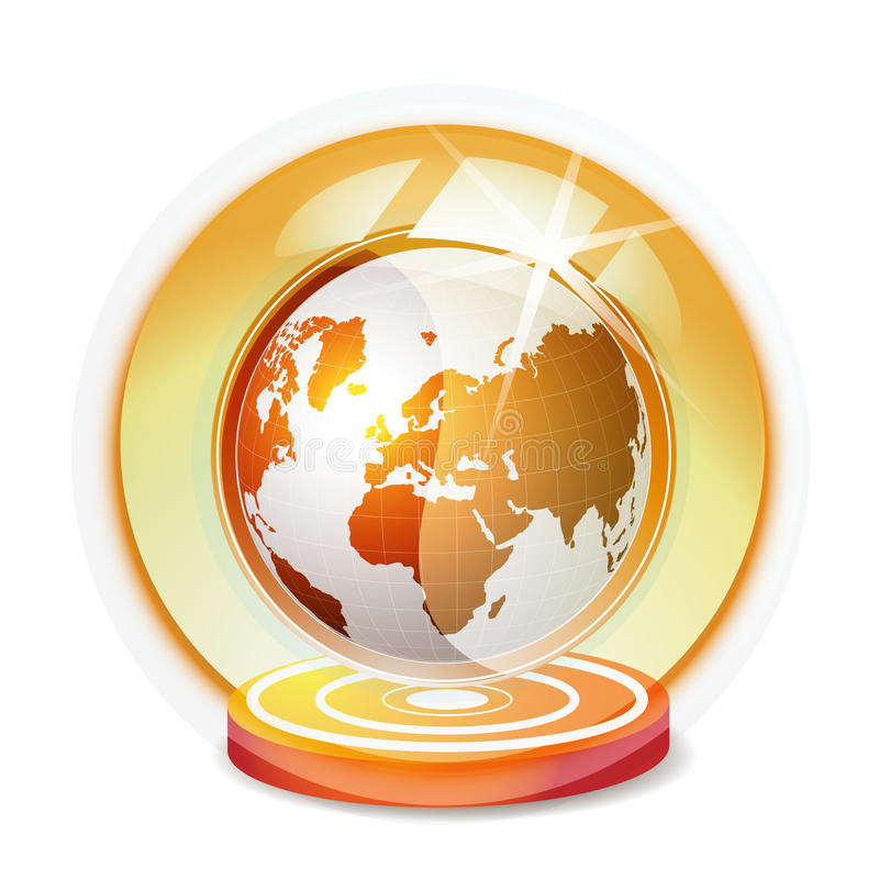 Glass globe with red Earth stock illustration