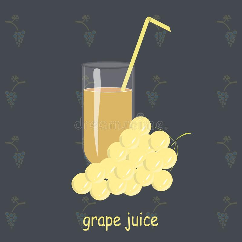A glass of grape juice, yellow straws, yellow grapes on a dark blue background painting. Healthy eating, fruit, organic, packaging design, product packaging stock illustration