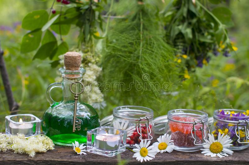 Glass green bottle with potion and dried herbs. Magic stock images