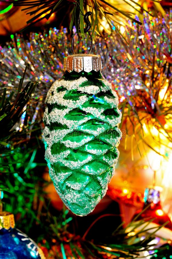 Glass green pinecone decoration. royalty free stock image
