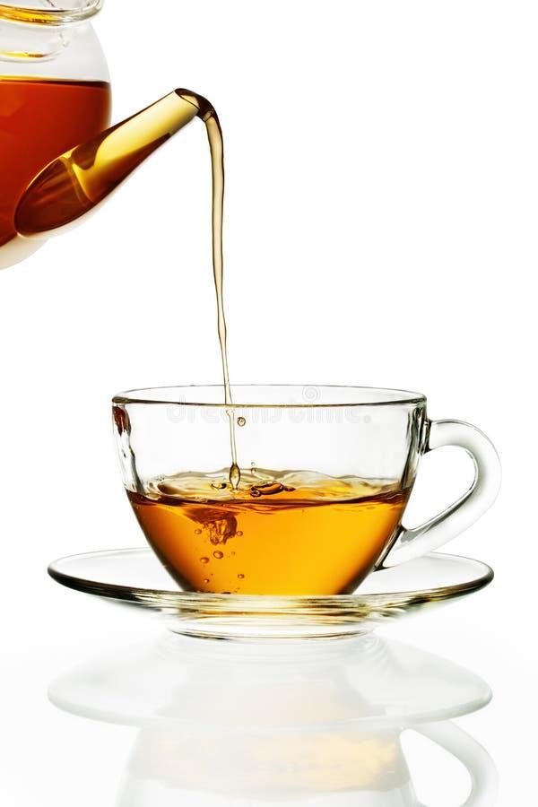 glass hällande tea för kopp arkivbild