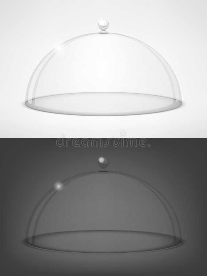 Glass transparent half-sphere. Glass half-sphere lid on black and white background vector illustration