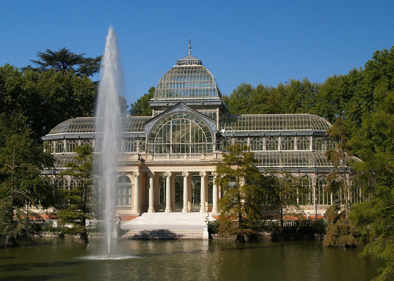 Glass Hall at Park del Retiro Madrid royalty free stock images