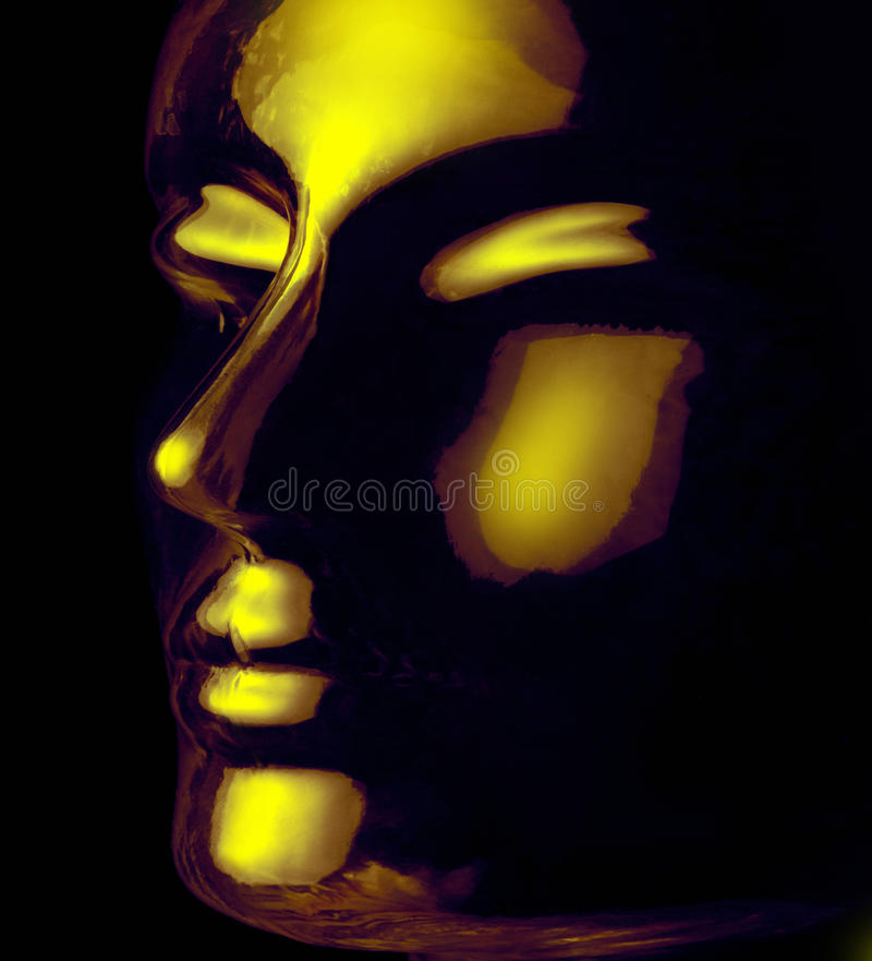 Glass head. Futuristic science theme showing a opalescent and translucent reflective human head made of glass in black back stock images