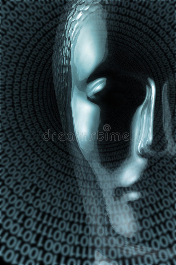 Glass head. Futuristic science theme showing a translucent reflective human head made of glass and lots of spiral binary code in black back stock photos