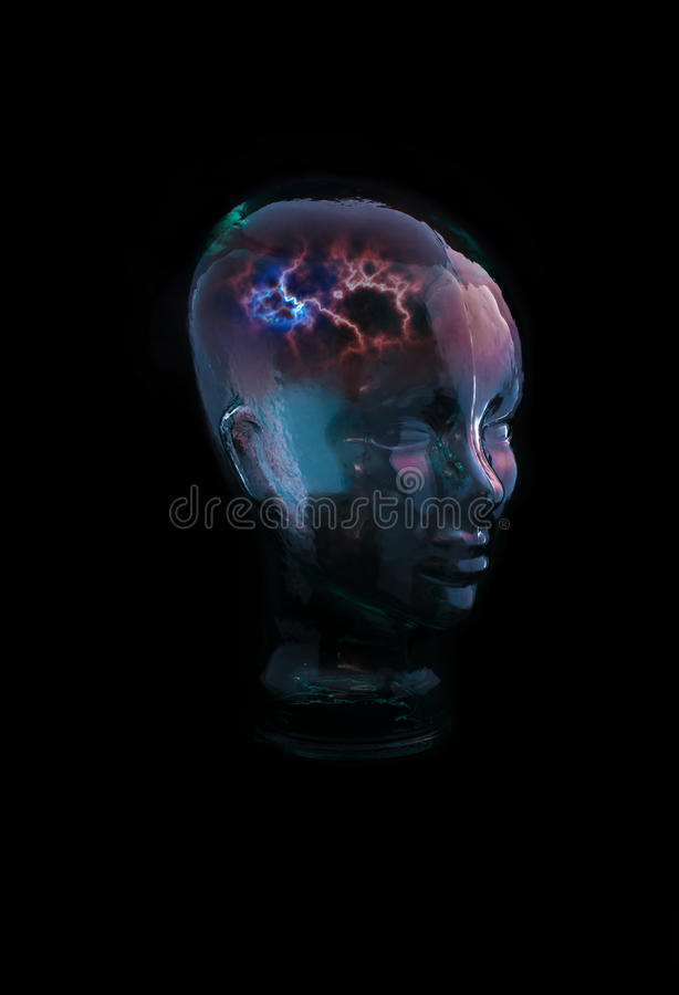 Glass Head Thought. Glass Head with concept of Thought royalty free stock images
