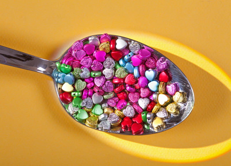 Download Glass Heart Beads stock photo. Image of full, many, small - 25258204
