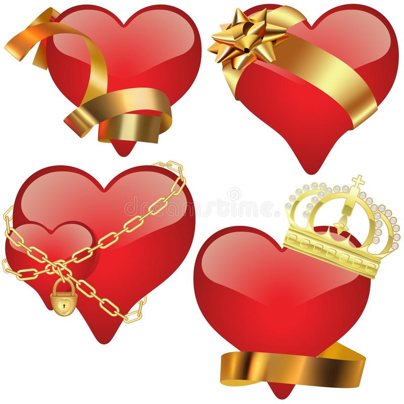 Glass Heart Collection royalty free illustration