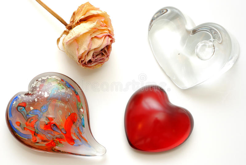 Glass Hearts royalty free stock image