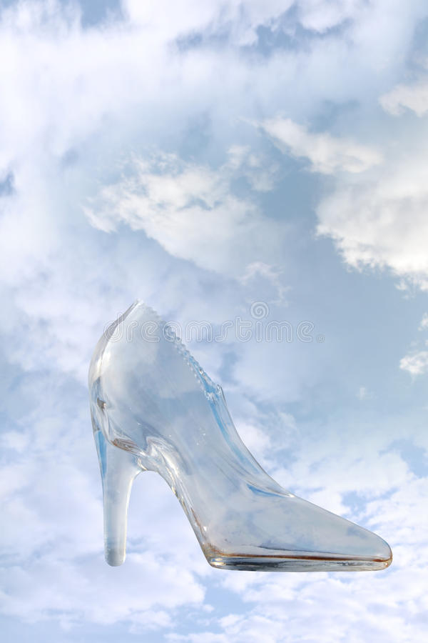 Glass High Heel Slipper With Clipping Path Royalty Free Stock Photography