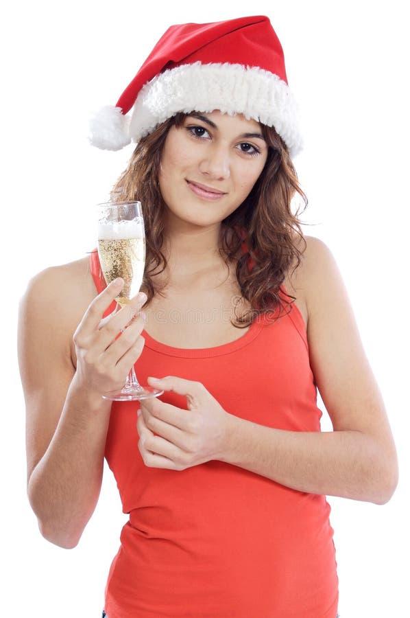 glass holding för champagneflicka royaltyfria foton