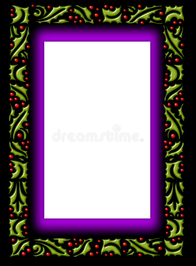 Glass holly border frame stock photography