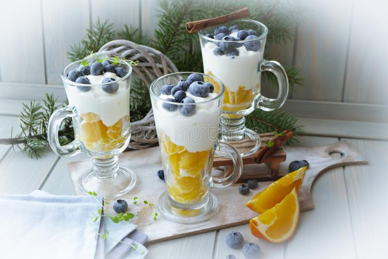 Glass with homemade layered dessert trifle with orange, blueberry, biscuit and cream yogurt royalty free stock photo