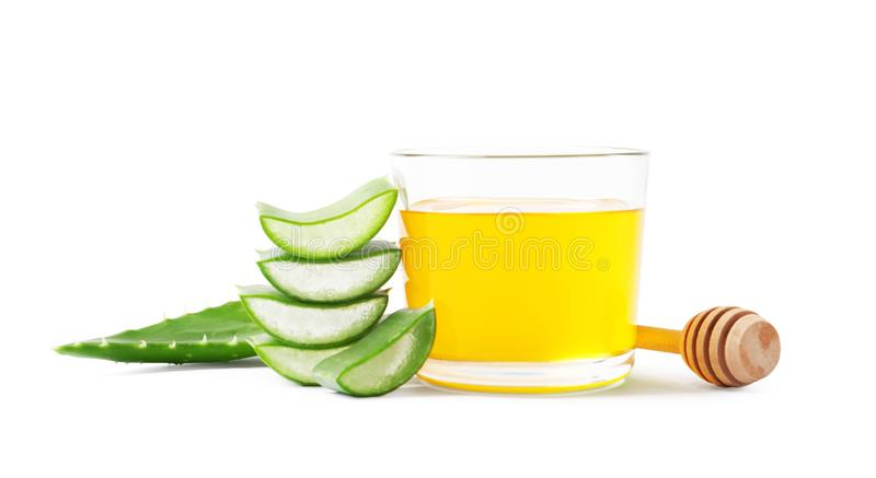 Glass of honey and aloe vera stock image