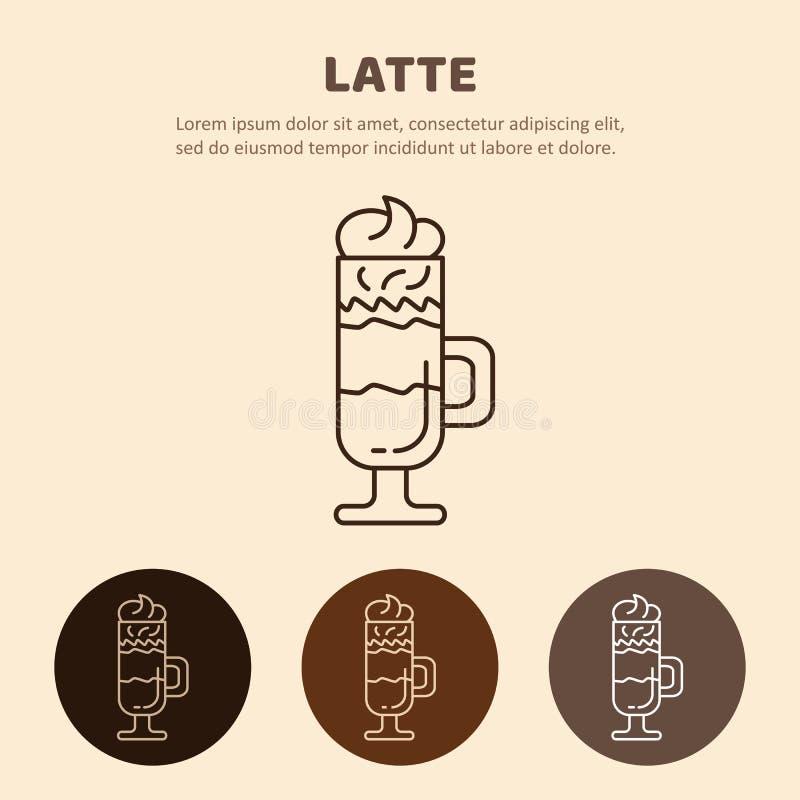 Glass of hot Latte macchiato coffee close up. vector illustration