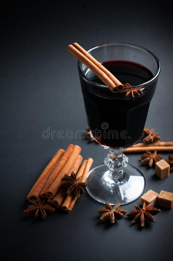 Glass Of Hot Mulled Wine Stock Photo