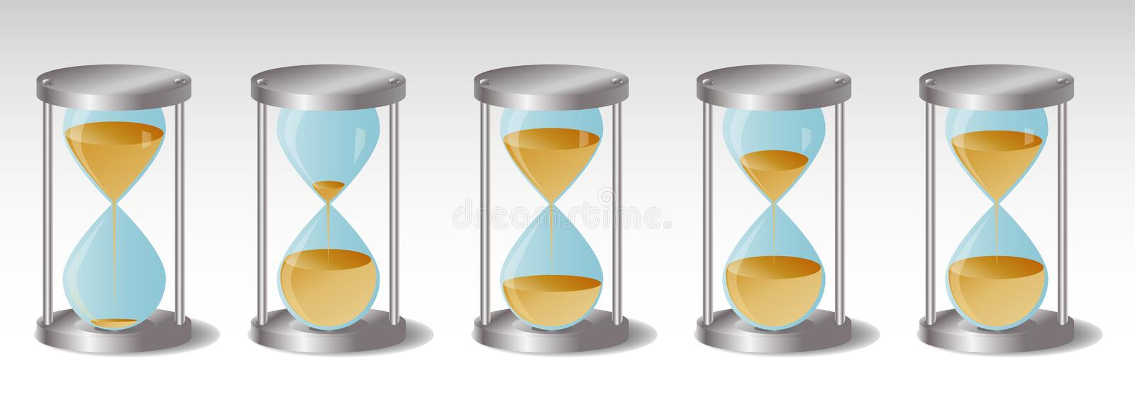 Glass Hourglass with metal hats, five pieces, leaking sand vector illustration