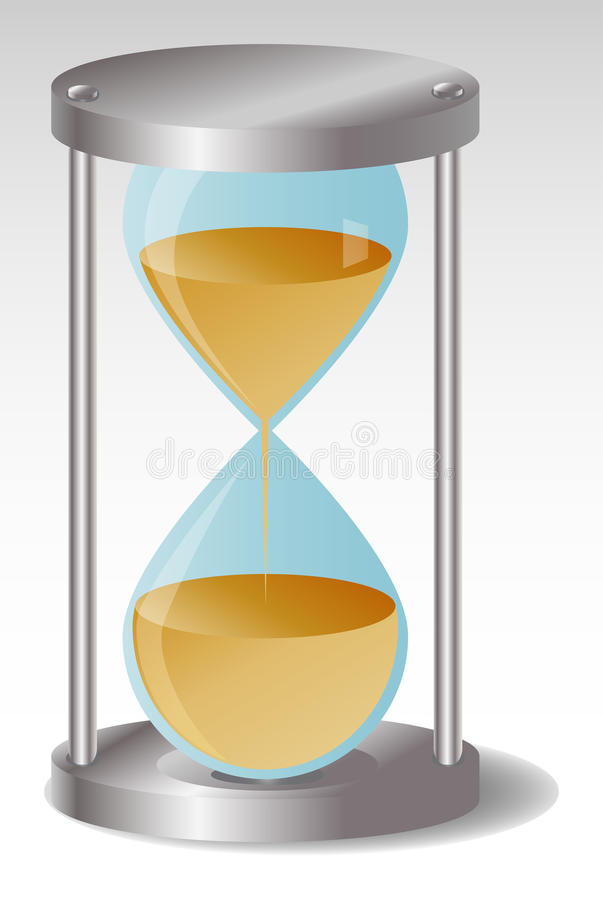Glass Hourglass with metal hats, leaking sand royalty free illustration