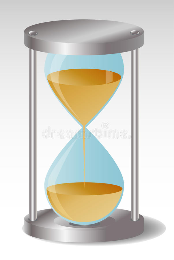 Glass Hourglass with metal hats, leaking sand vector illustration