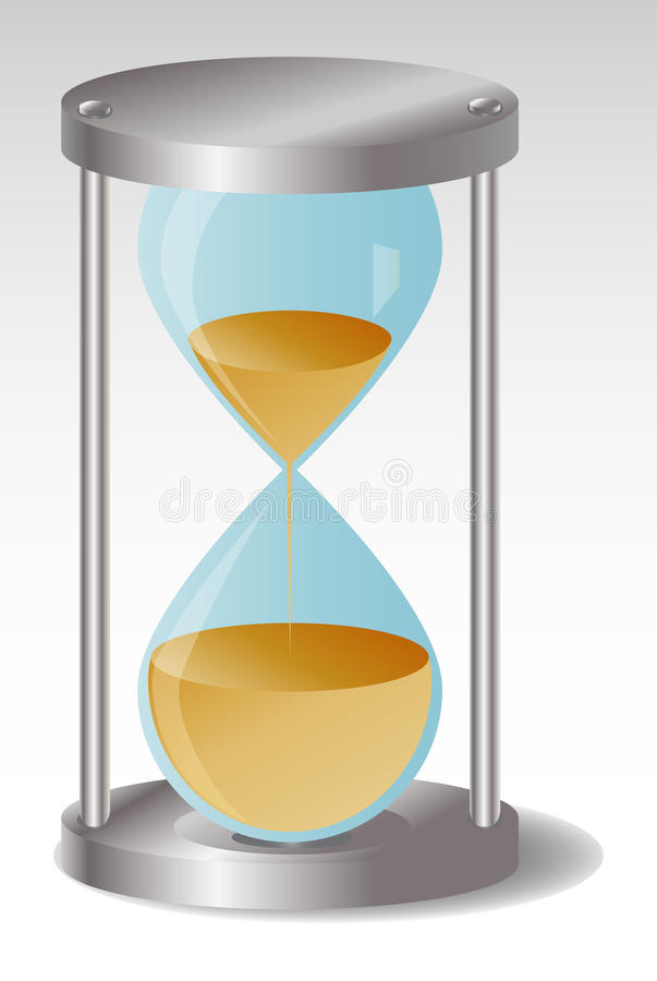 Glass Hourglass with metal hats, leaking sand stock illustration