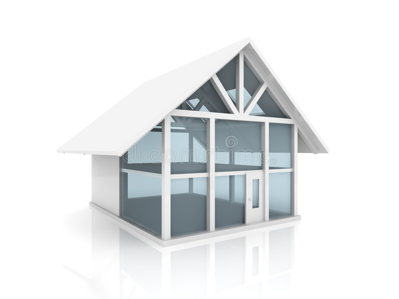 Glass House. 3D Illustration. Semi-isolated on white