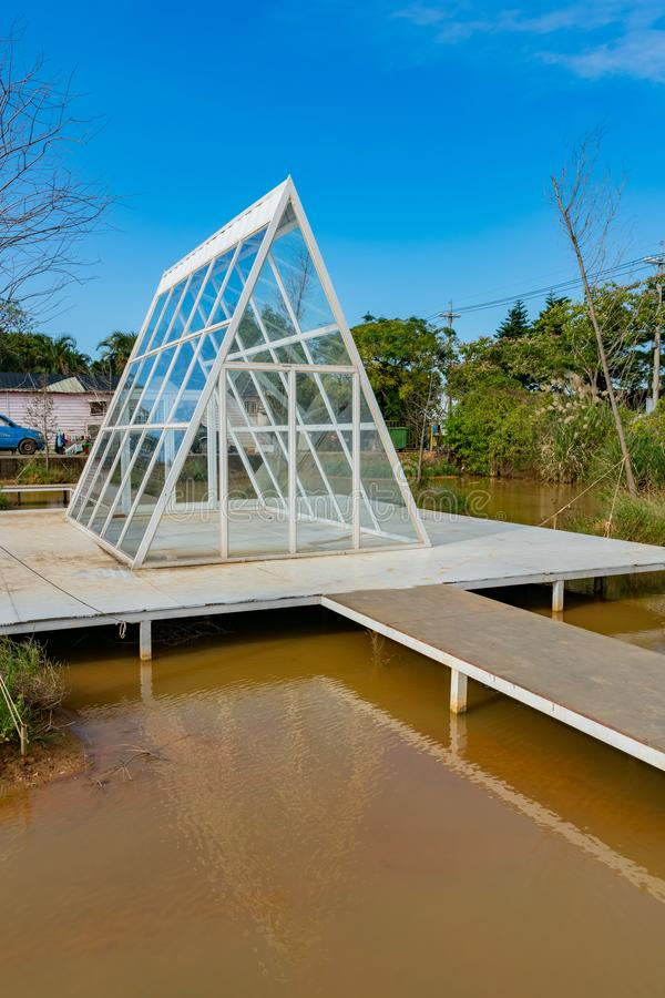 Glass house at a recreation center. Taoyuan, DEC 15: Glass house at a recreation center on DEC 15, 2018 at Taoyuan, Taiwan stock photography