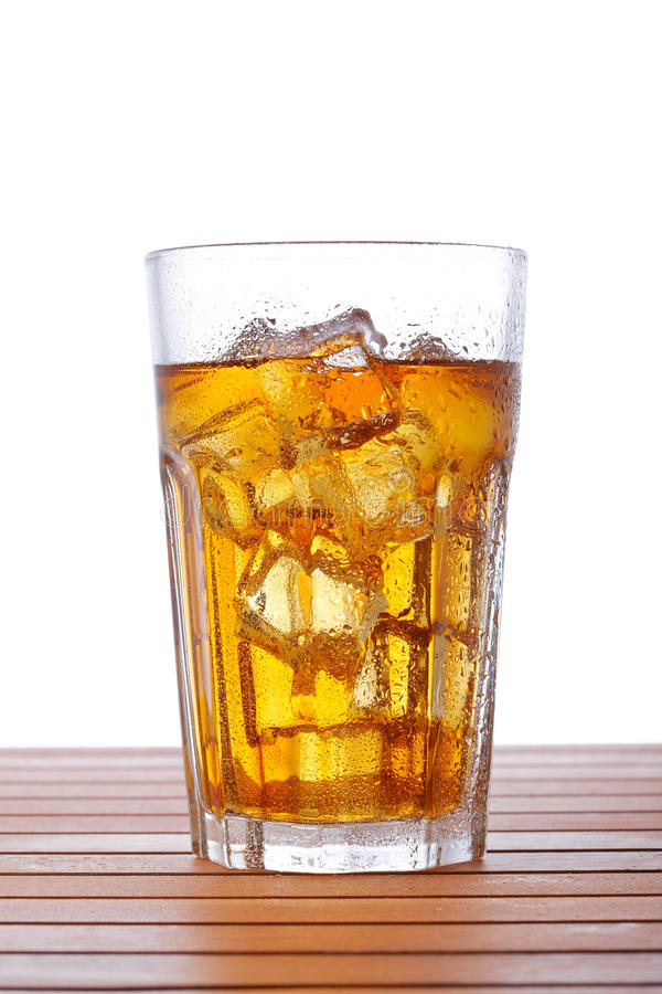 Glass of ice tea with lemon stock image