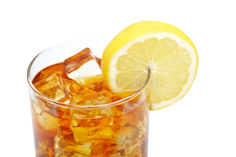Glass of ice tea with lemon stock photo