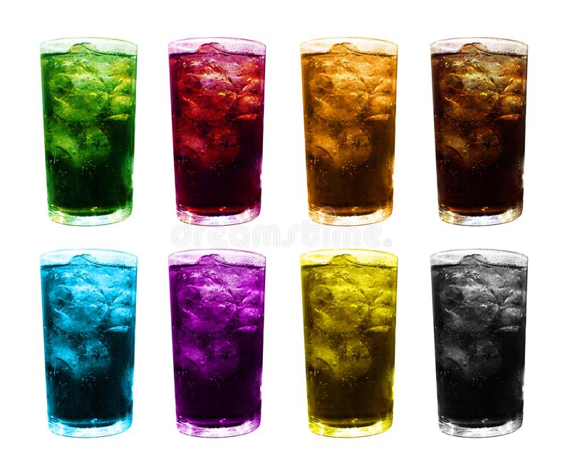 Ice glass water multi color, fruit juice colorful mixed in ice glass, ice tea juice glass, water glasses sweet carbonated dri stock image