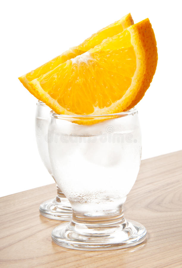 Glass Of Ice Water Or A Vodka Stock Images