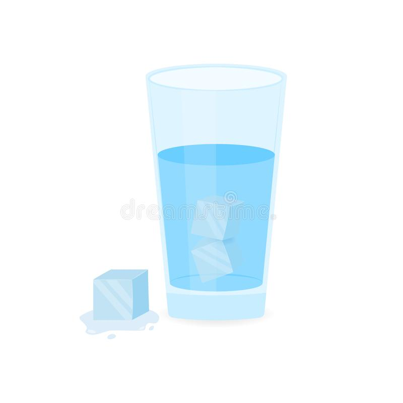 Glass of Ice Water on white background. Vector stock illustration stock illustration