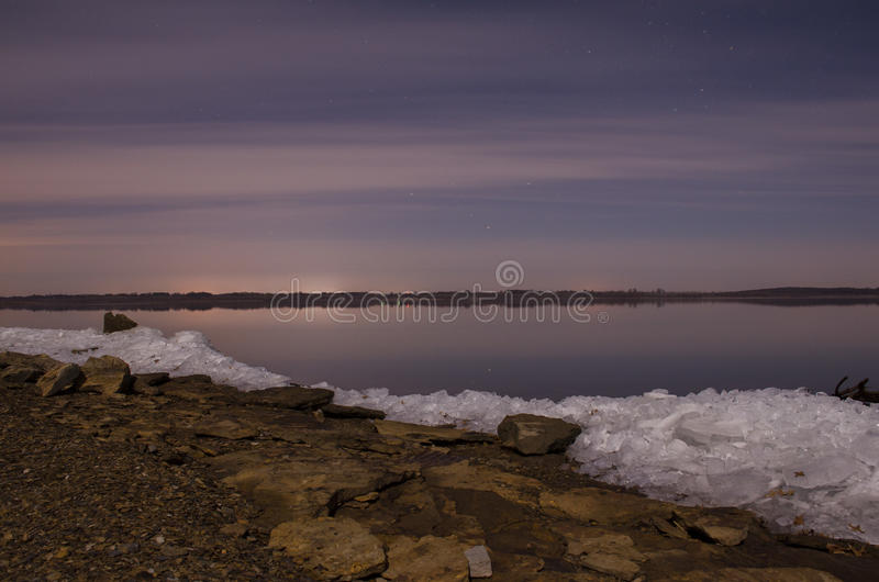 Glass Ice. Waterscape at Truman Lake in Cooper Missouri stock photos
