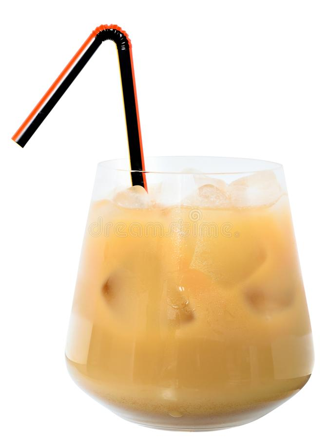 Glass with iced coffee isolated stock image