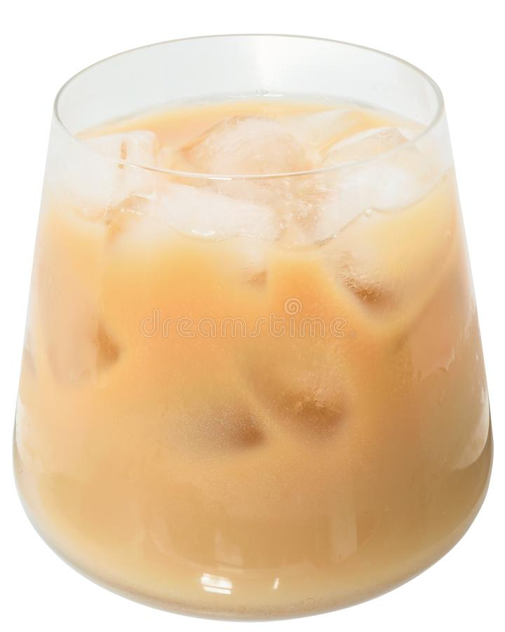 Glass with iced coffee isolated royalty free stock photography