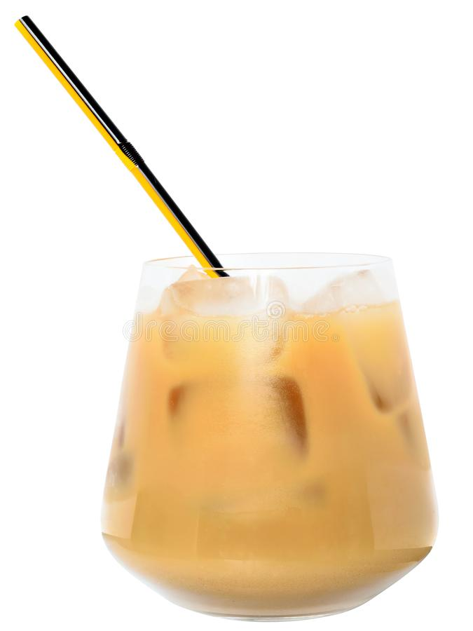 Glass with iced coffee isolated stock images