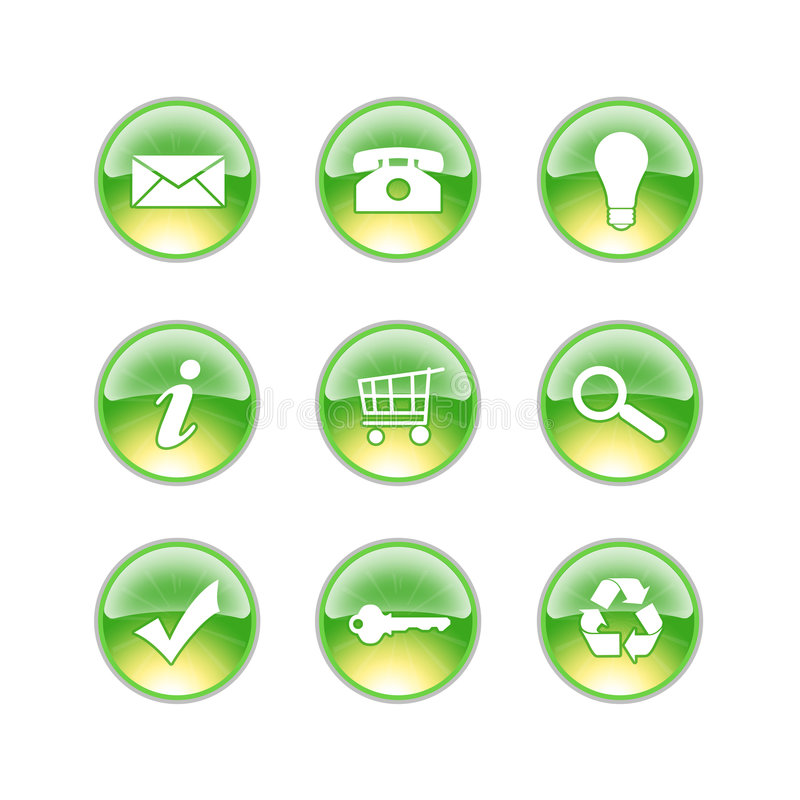 Glass icons lime stock illustration