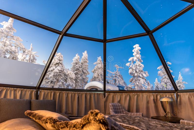 Glass igloo in Lapland near Sirkka, Finland royalty free stock image