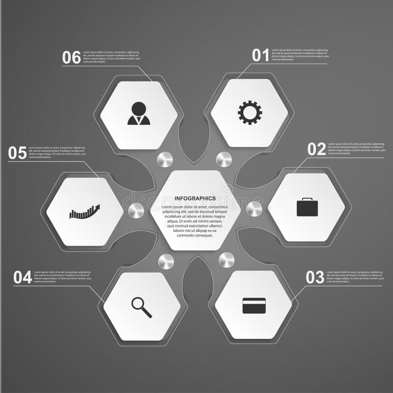 Glass infographicsmall för abstrakt sexhörning vektor för bild för designelementillustration royaltyfri illustrationer
