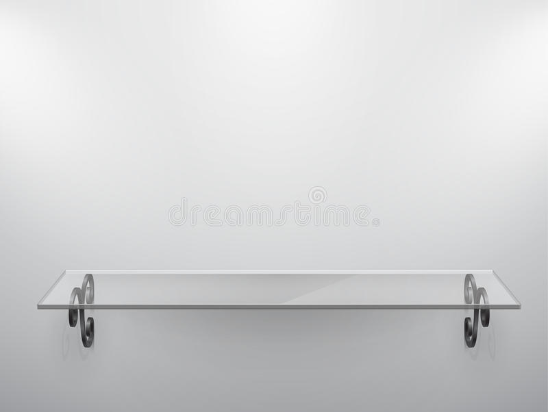 Glass Isolated Empty Shelf For Exhibit. Stock Photo
