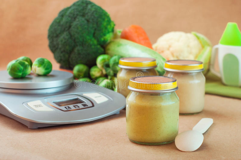 Download Glass Jar With Baby Food Near Kitchen Scales Stock Image - Image: 83712217