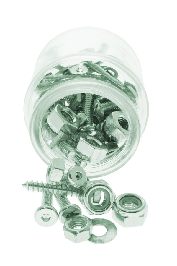 Download Glass Jar With Bolts And Nuts Stock Photo - Image of isolated, improvement: 5425032