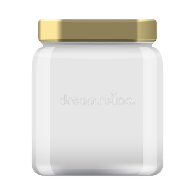 Glass Jar for canning and conservation. Empty jar mock up design template cap. Illustrated vector royalty free illustration