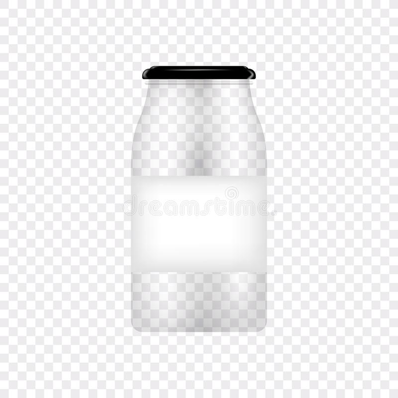 Glass Jar for canning and conservation. Vector empty jar design template with cover or lid on transparent. Vector royalty free illustration