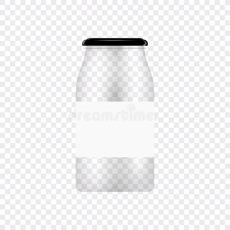 Glass Jar for canning and conservation. Vector empty jar design template with cover or lid on transparent. Glass Jar for canning and conservation. Vector empty royalty free illustration