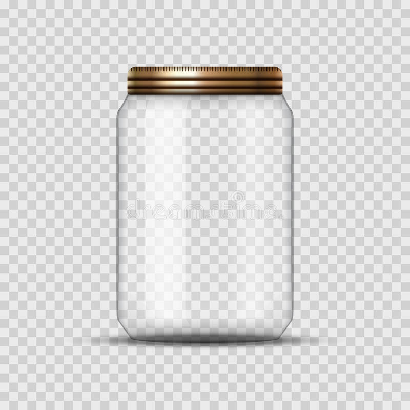 Glass Jar for canning and conservation. Vector empty jar design template with cover or lid on transparent.  stock illustration